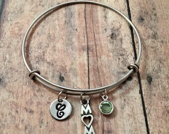 Mom initial bangle with birthstone - mom bracelet, gift for mom, Mother's Day jewelry, mother jewelry, mom birthstone bangle, mom jewelry