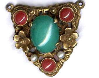vintage METAL and GLASS FOCAL repurpose bold strong russian gold plate with glass cabochons triangle shape with loops