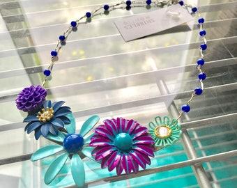 Bloom statement necklace with vintage enamel flowers