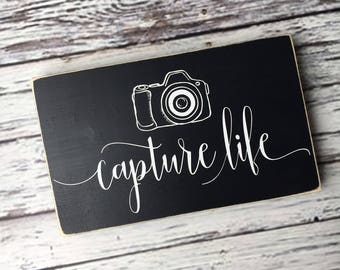 capture life | camera | photography sign | wood sign | gallery wall sign | inspirational saying | home decor | Style# HM146