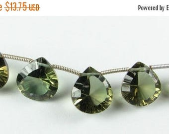 SHOP SALE Olive Green Quartz Concave Heart Gemstone Briolettes 12mm - 13mm (2 beads - matched pair for earrings)