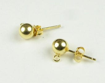 SHOP SALE Earring Posts, 6mm Ball 24 Karat Gold Vermeil over Sterling Silver Ear Studs with Open Rings and Ear Nuts Stamped 925 (1 pair)