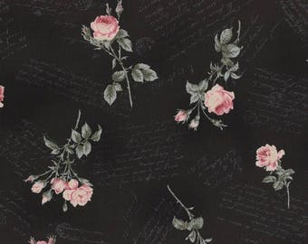 SALE 25% OFF Antique Rose Black with Pink Floral Flowers Roses and Script Writing Designer Quilting Sewing Fabric by Lecien - 1/2 Yard 31274