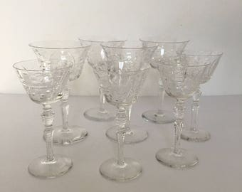 Floral Champagne Glasses Cordial Set of Eight Delicate Wheel Cut Etched Coupe Glasses 1940's New Year Wedding Toast Gatsby Style