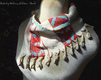 Vintage tribal Kirdi beaded textile apron belt scarf  art to wear