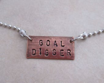 goal digger necklace stainless steel oxidized copper motivational