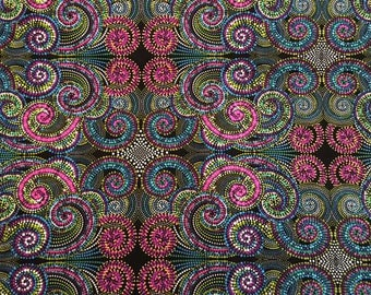 2 yds. Palindrome Totem by Paula Nadelstern in pink and teal
