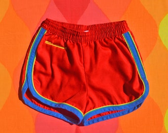 vintage 70s kid's shorts RAINBOW bathing suit swim red piping stripe children 16 adult XS donmoor 80s