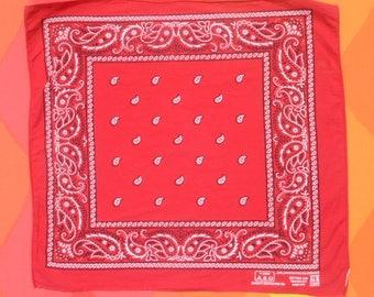 80s vintage BANDANA scarf red paris bandanna handkerchief paisley cotton USA colorfast