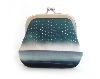 Large coin purse, credit card pouch, storm, blue raindrop