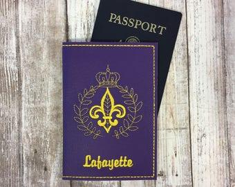 Fleur de Lis Passport Cover - New Orleans Passport Holder - Passport Wallet with Name - Travel Gift - Passport Case - Cover for Passport