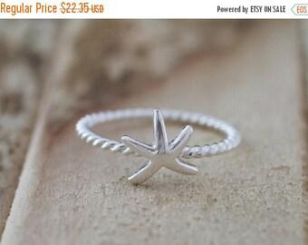 Memorial Day Sale Mermaid. Sterling Silver mini Starfish petite Midi Ring