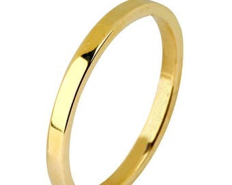 Memorial Day Sale 14 kt  Yellow Gold Classic Smooth Cigar Style 2mm Wide Commitment or Wedding Band Custom made Size 4 through 14