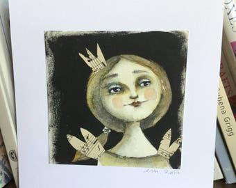 Original watercolor painting primitive angel girl yellowish ochre and sepia