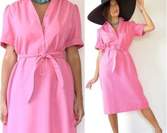 SUMMER SALE/ 30% off Vintage 60s 70s Flamingo Pink Linen Look Shirt Dress (size small, medium)