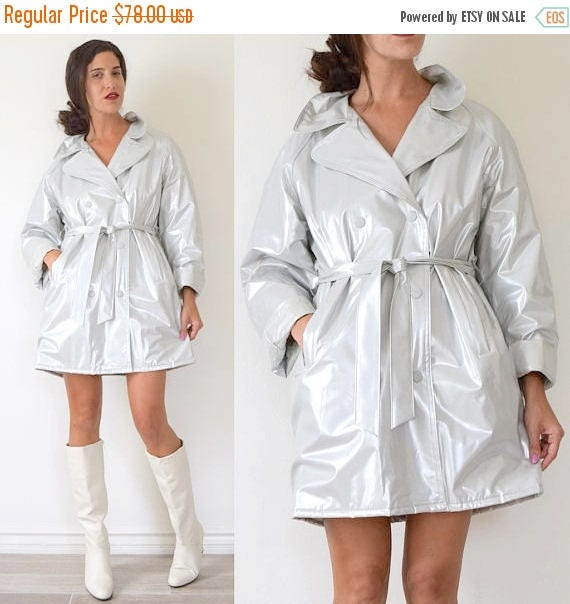 SUMMER SALE/ 30% off Vintage 80s 90s Silver PVC Short Raincoat with Quilted Lining (size medium, large)