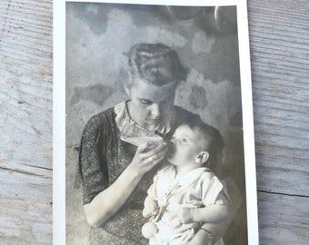 ON SALE Vintage 1930 real photography postcard French mamam et bébé