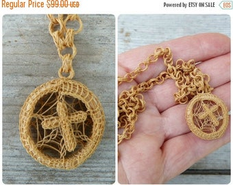 ON SALE Victorian French Horsehair Chain & cross Necklace