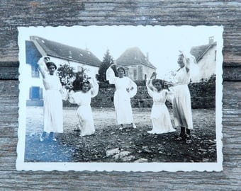 Vintage Antique  French real photography black & white   girls dancing