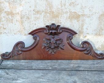 Vintage Antique 1890/1900  French oak wood pediment crest Mount Ornate Wood Hardware  FLOWERS