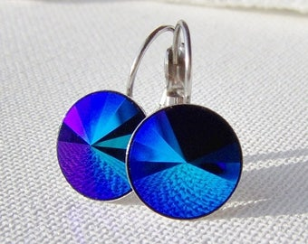 SALE Jet glacier blue rhinestone earrings / leverback earrings / Surgical steel  Hypoallergenic / cobalt crystal / Swarovski / gift for her
