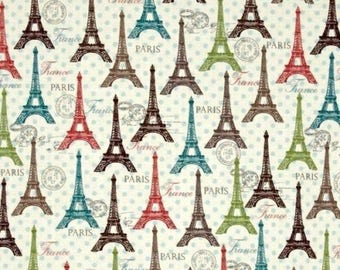 HALF YARD -Eiffel Spring, Eiffle Tower, Paris, Cream Multi, by David Textiles Fabric , 100% Cotton