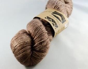 Abbey in Bliss Fingering Alpaca/silk/cashmere dark taupe brown luxury hand dyed yarn