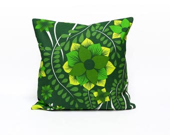 Green 70s Trow Pillow, Vintage Fabric Cushion Cover, Handmade pillow case, modern sofa pillow by EllaOsix