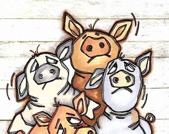 1658 Pig Pile Digi Stamp