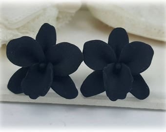 Black Orchid Stud Earrings or Clip On Earrings - Black Orchid Jewelry