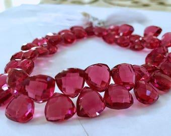 1/2 strand of pomegranate color hydro quartz triangles