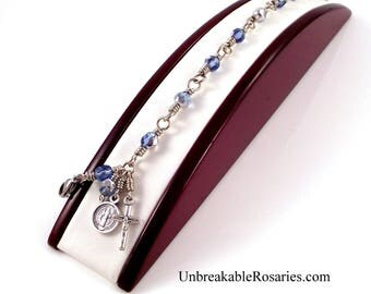 St Benedict Rosary Bracelets Sapphire Blue Silver Czech Glass Beads Wire Wrapped by Unbreakable Rosaries