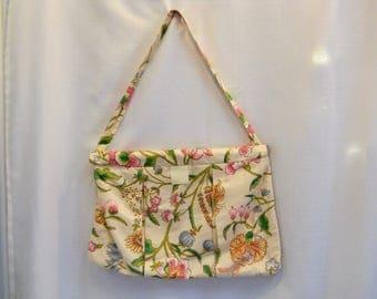 Vintage 1980s 80s Knitting Bag Floral Bag Floral Purse 80s Floral 80s Fashion Knitting Accessories Large Bag Large Purse Floral Print
