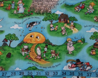 Cotton Fabric - Nursery Rhymes 10 inches