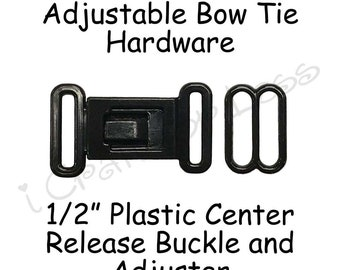 "50 Sets Bow Tie Hardware Plastic Buckle and Slide Adjuster - 1/2"" (12mm) - Black Plastic - SEE COUPON"