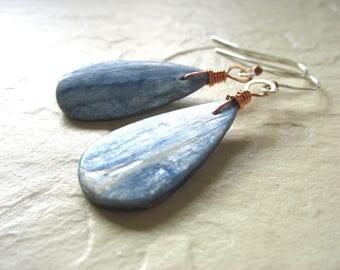 Blue Kyanite Earrings, Kyanite Stone Earrings, Artisan Handmade Gemstone Dangle Chandelier Earrings, Gemstone Jewelry, Kyanite Jewelry
