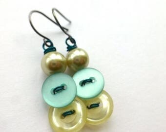 Christmas in July Sale Turquoise Aqua Blue and Pearl White Vintage Button Dangle Earrings