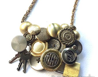 Lock and Key Repurposed Metal Vintage Buttons Statement Necklace