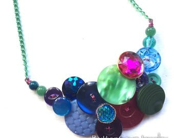 Funky Mermaid Statement Necklace Green Blue Purple Pink Sparkle Button Necklace