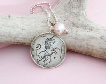 Unicorn Necklace, Vintage Book Page Pendant, Dictionary Image Unicorn Charm Jewelry,  Magical Gift for Her, Majestic Creature Necklace