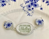 Reserve for Daria, Custom Broken China Jewelry Bracelet, Sterling Silver, Shelley Dainty Blue,Made From China