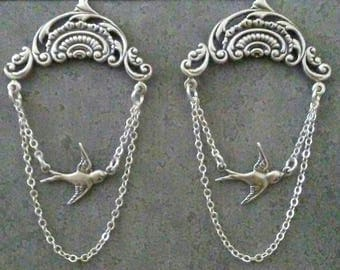 Free Bird Earrings  Sparrow Bird  Silver Nature Jewelry By Red Gypsy Jewelry