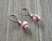 baseball earrings - baseball gift - I can pitch them your way - no foul novelty for sports fan - sport ball earrings - gwynstone handmade