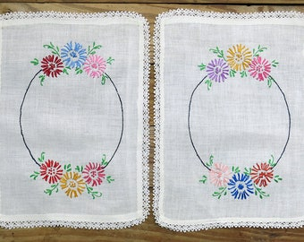 Vintage Embroidered Linen Table Scarf Set, Lace Edge Trim, Multi-color Flowers, Antimacassar 2 Pc. Arm Rests, Covers, Sewing Craft Supply