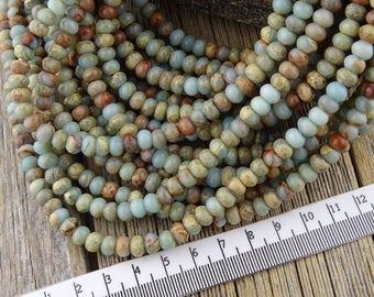 Aqua Terra Jasper, Sea Sediment Jasper, Impression Jasper Beads, 6mm Rondelle Beads, Heishi Beads, Natural Gemstones, 4x6mm, Restock 8/16