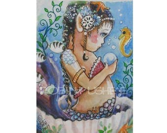 ACEO, Original, Painted Baby Mermaid in a shell