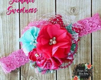 RTS Summer Sweetness Aqua Hot Pink Glamour Bloom Hair Flower clip headband