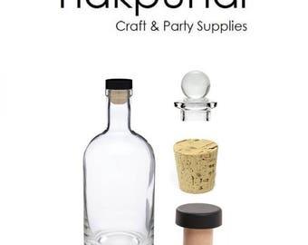 12 oz Heavy Bottom Boston Liquor Bottle with Cork, T-bar and Glass Stopper ( Nordic)