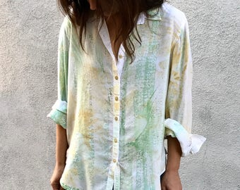 Button down hand painted boyfriend shirt