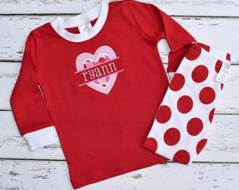 Valentine Girls Pajamas   Valentines Day Pajamas   Red Dot Pajama Pant Set    Valentineu0027s Day